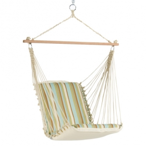Spring Bay Stripe Cushioned Outdoor Single Swing