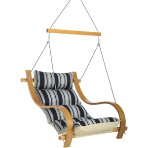 The Hamptons Summer Stripe Cushioned Outdoor Single Swing w/ Oak Armrests