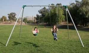 Heavy Duty Double Swing Single Bay Swing Set