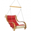 Royal Red Stripe Cushioned Outdoor Single Swing w/ Oak Armrests