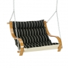Classic Black Stripe Cushioned Outdoor Double Swing